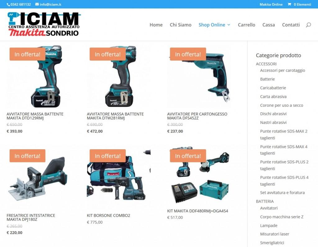 Progetto di vendita online prodotti Makita, sito ecommerce
